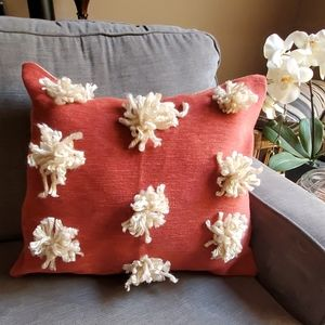 Artisan decorative pillow in burnt orange, cream &